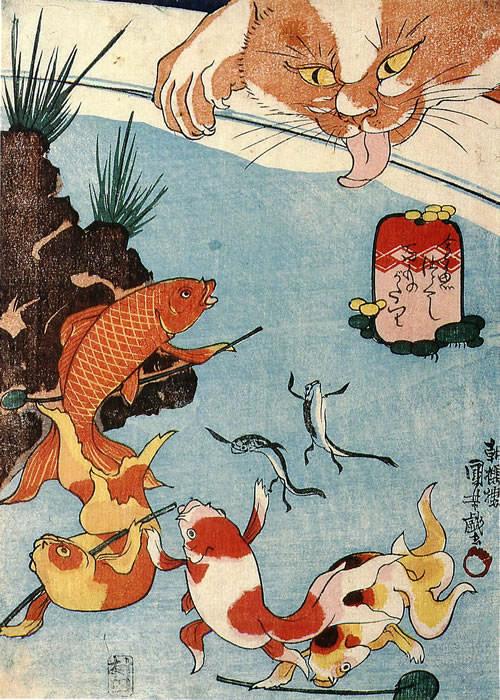 金魚づくし 百物語(幕末の浮世絵師・歌川国芳の画)