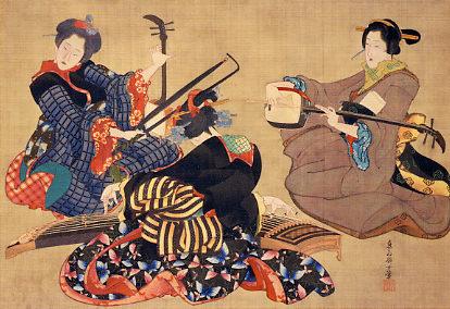 三曲合奏図(幕末の浮世絵師・葛飾応為の画)の拡大画像