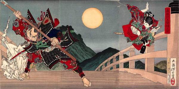 義経記五条橋之図(幕末の浮世絵師・月岡芳年の画)の拡大画像