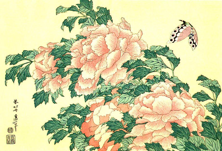 牡丹に蝶(葛飾北斎の画)の拡大画像