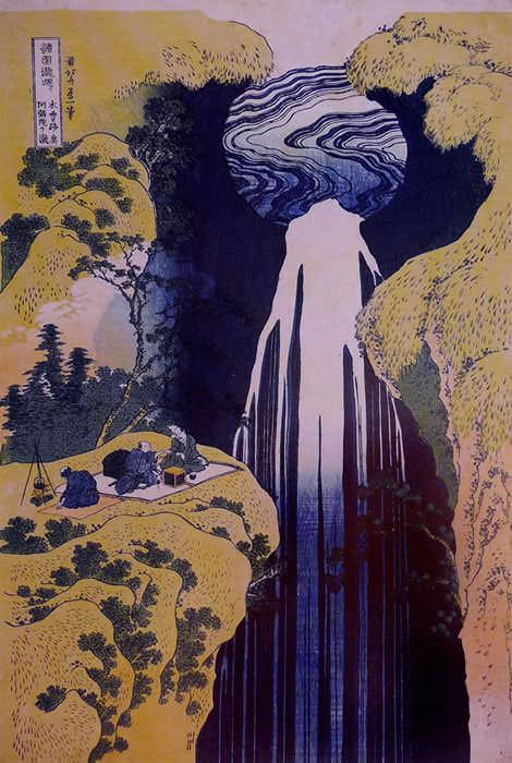 木曽路ノ奥阿弥陀ケ滝(葛飾北斎の画)