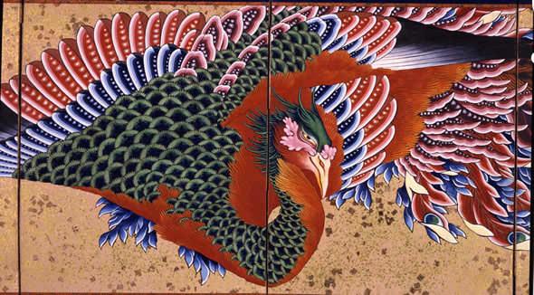 鳳凰図屏風(葛飾北斎の画)