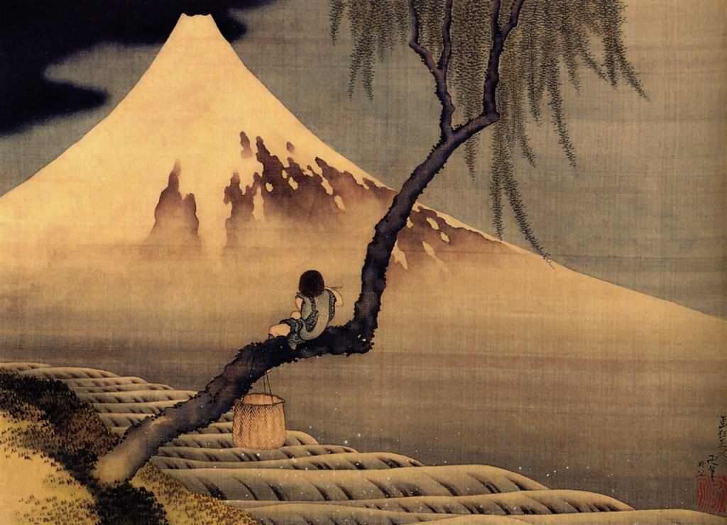 富士と笛吹童図(葛飾北斎の画)の拡大画像