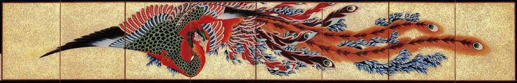 鳳凰図屏風 全体(葛飾北斎の画)の拡大画像