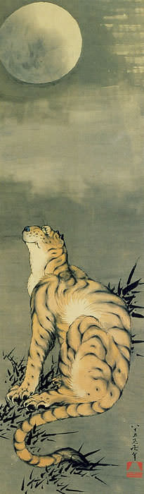 月みる虎図(葛飾北斎の画)
