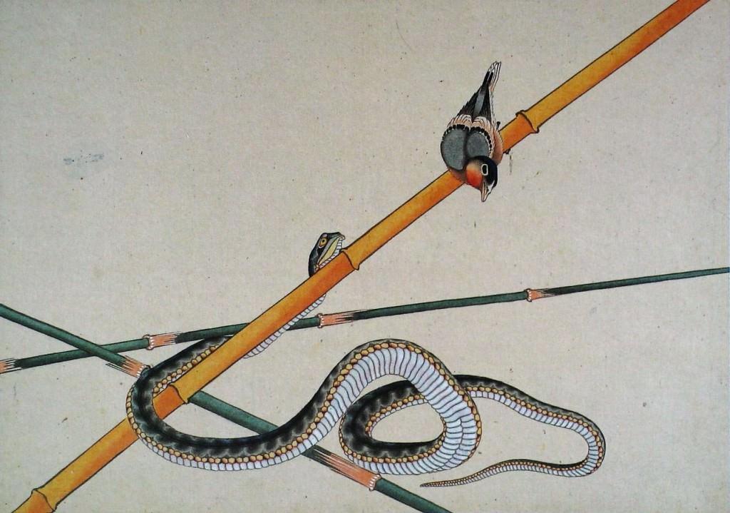 蛇と小鳥(葛飾北斎の画)の拡大画像