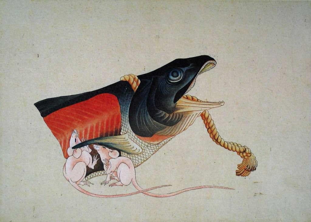 鮭と鼠(葛飾北斎の画)の拡大画像
