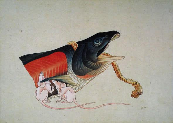 鮭と鼠(葛飾北斎の画)
