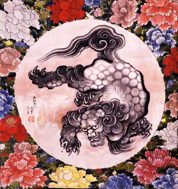 唐獅子図(浮世絵師・葛飾北斎・応為の画)の拡大画像