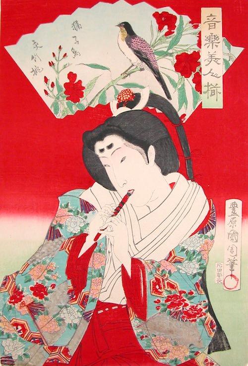 音楽美人揃 植松務子 夾竹桃・獦子鳥(1878年)(幕末の浮世絵師・豊原国周の画)