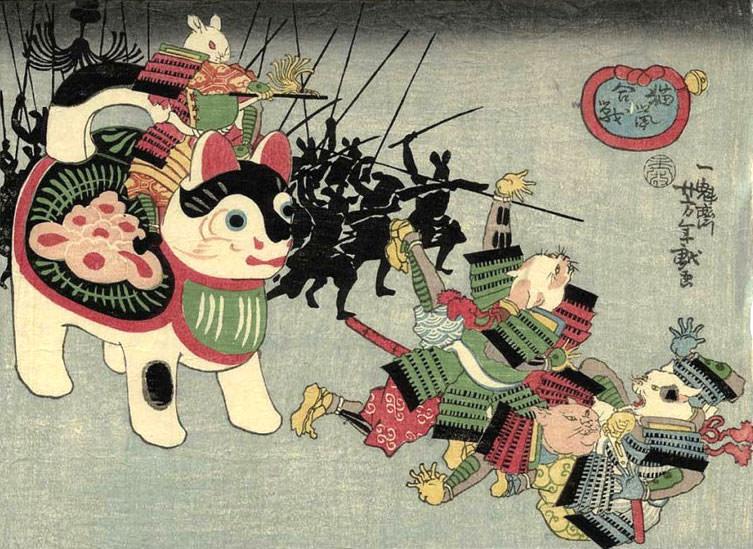 猫鼠合戦(1859年)月岡芳年(拡大画像)