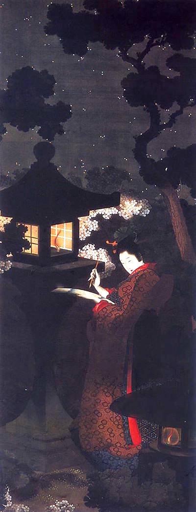 春夜美人図(幕末の浮世絵師・葛飾応為の画)