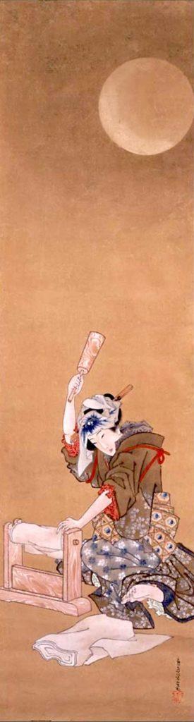 月下砧打美人図(幕末の浮世絵師・葛飾応為の画)