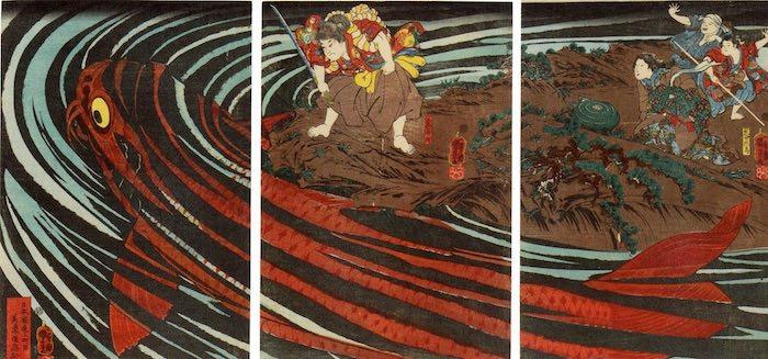 鬼若丸の鯉退治(1845年頃)歌川国芳