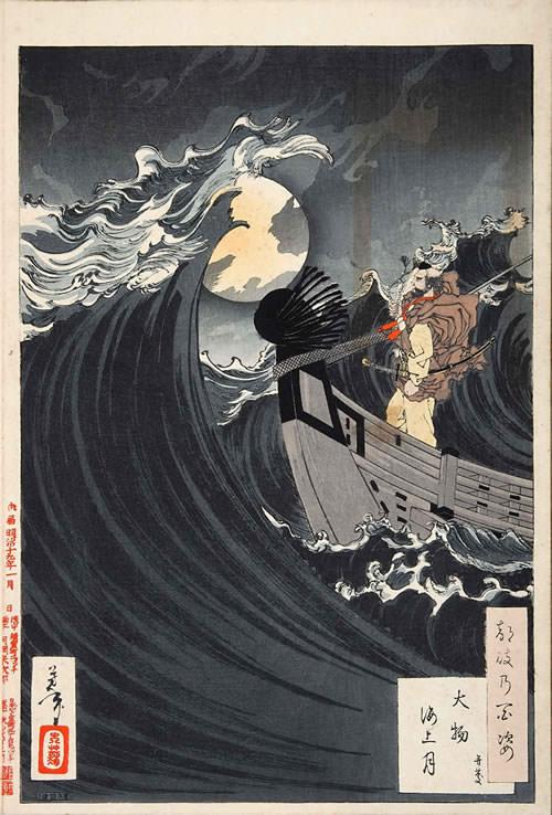 『大物海上月 弁慶』(『月百姿』シリーズ、作・月岡芳年)