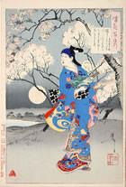 『桜さくすみたの川にこくふねもくれて関屋に月をこそ見れ 水木辰の助』(『月百姿』シリーズ、作・月岡芳年)