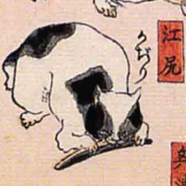 江尻/其のまま地口 猫飼好五十三疋(歌川国芳 画)の拡大画像