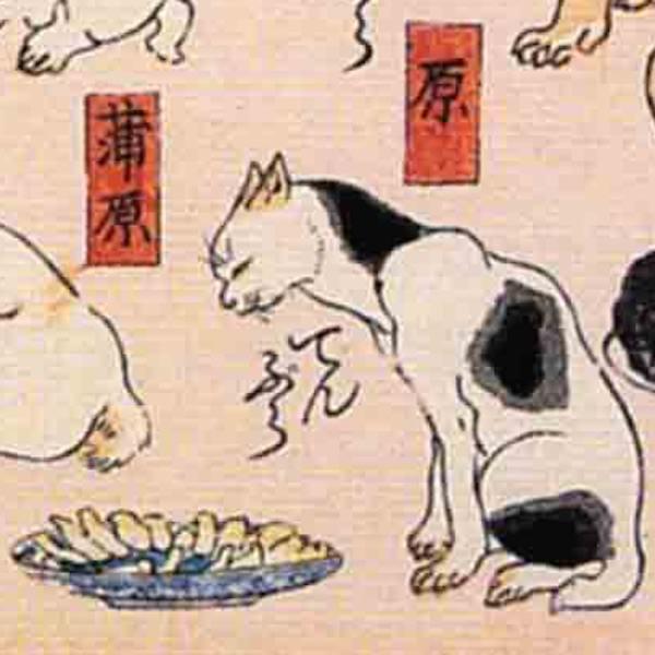 蒲原/其のまま地口 猫飼好五十三疋(歌川国芳 画)の拡大画像