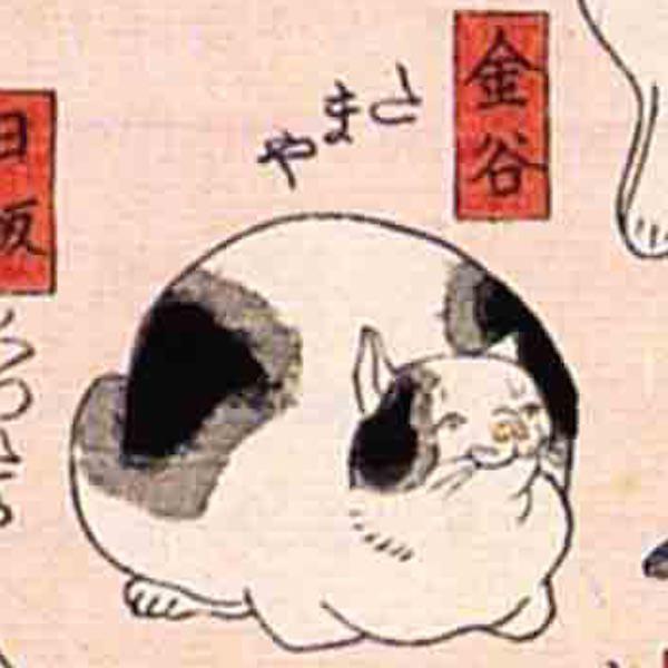 金谷/其のまま地口 猫飼好五十三疋(歌川国芳 画)の拡大画像