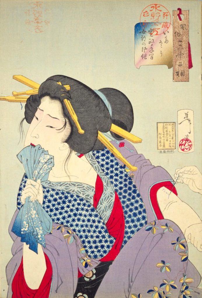 『いたさう 寛政年間女郎の風俗』(『風俗三十二相』より、月岡芳年 画)の拡大画像