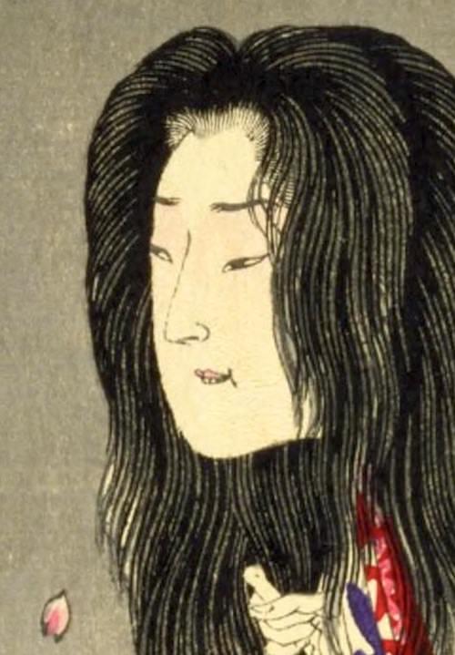 ヤンデレ・清姫の顔の拡大(『清姫日高川に蛇躰と成る図』より、月岡芳年 画)