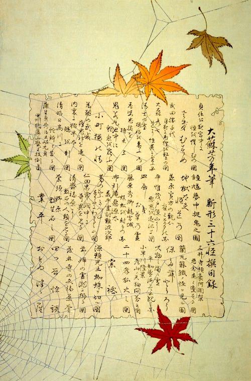 『新形三十六怪撰』の目次(月岡芳年 画)