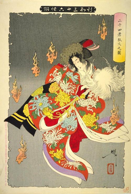 『二十四孝狐火之図』(1892年/明治25年)(『新形三十六怪撰』より、月岡芳年 画)