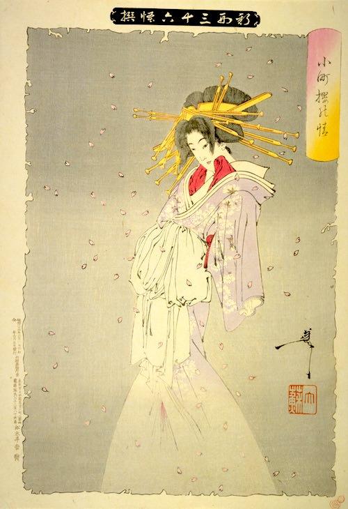 『小町桜の精』(1889年/明治22年)(『新形三十六怪撰』より、月岡芳年 画)