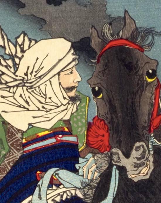 上杉謙信が描かれた浮世絵(『芳年武者无類』より、月岡芳年 画)