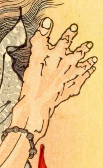 ヤマトタケルに討伐されたクマソ(熊襲)の足(『芳年武者无類』より、月岡芳年 画)