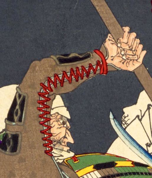 熊坂長範が描かれた浮世絵(『芳年武者无類』より、月岡芳年 画)