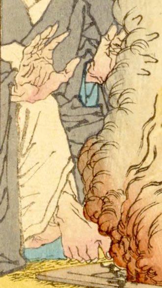 囲炉裏で手足を暖める北条時頼(『芳年武者无類』より、月岡芳年 画)