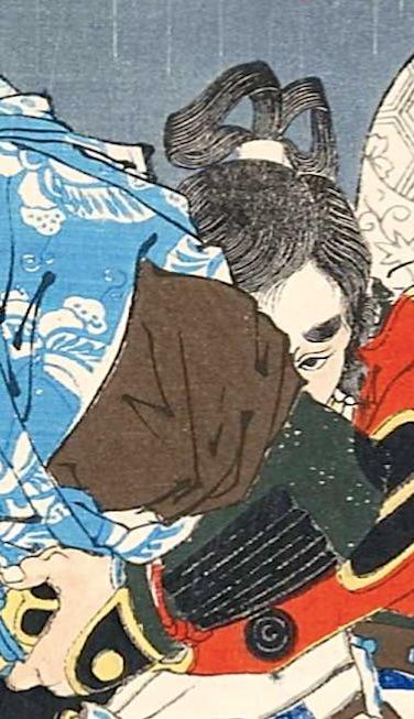 御所五郎丸が描かれた浮世絵(『芳年武者无類』より、月岡芳年 画)