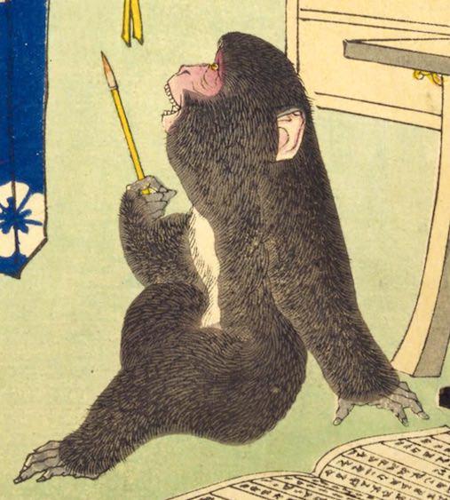 加藤清正を見る猿(『芳年武者无類』より、月岡芳年 画)