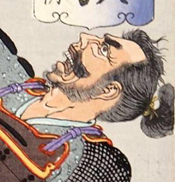 源頼朝に斬られる男(『芳年武者无類』より、月岡芳年 画)
