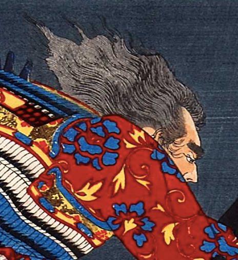 平教経(のりつね)が描かれた浮世絵(『芳年武者无類』より、月岡芳年 画)