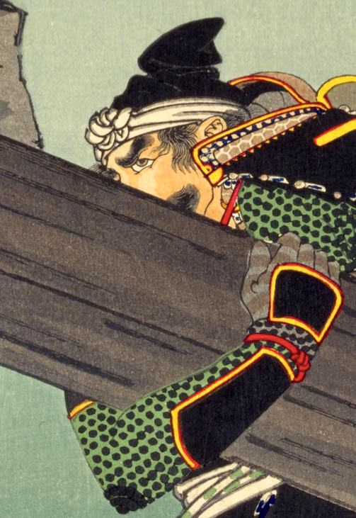 篠塚重広が描かれた浮世絵(『芳年武者无類』より、月岡芳年 画)