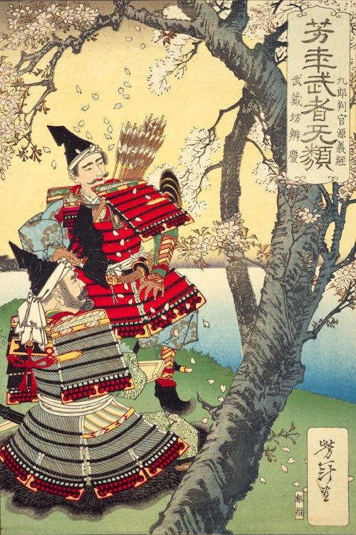 『武蔵坊弁慶・九郎判官源義経』(1883年/明治16年)(『芳年武者无類』より、月岡芳年 画)