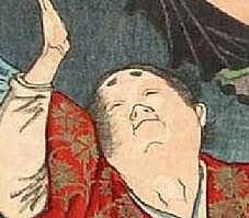 源義経(『大日本名将鑑 武蔵坊弁慶 源義経』より、月岡芳年 画)
