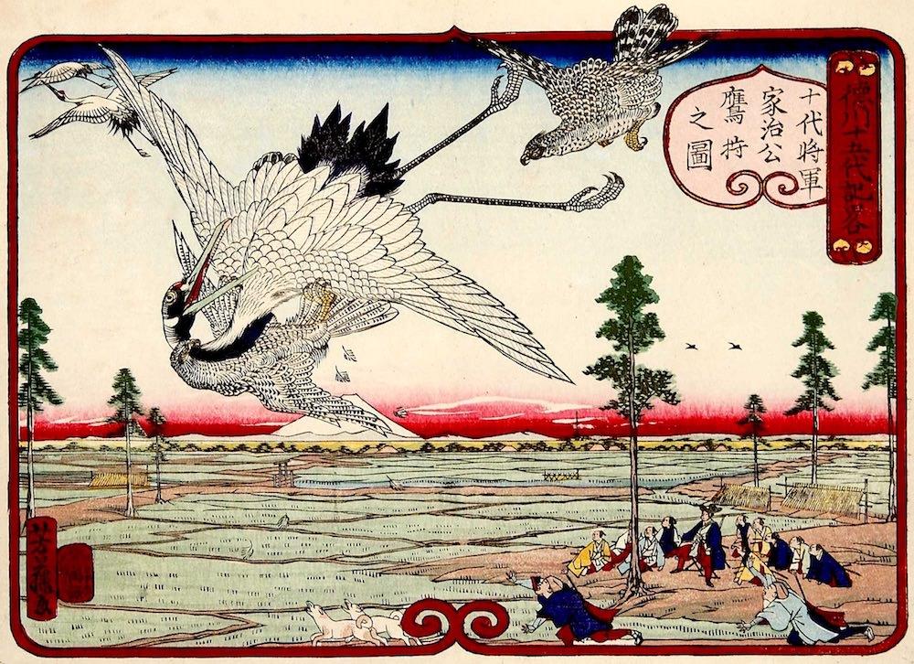 『徳川十五代記略 十代将軍家治公鷹狩之図』(歌川芳藤 画)の拡大画像