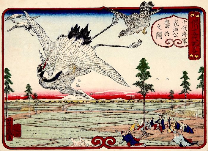 『徳川十五代記略 十代将軍家治公鷹狩之図』(歌川芳藤 画)