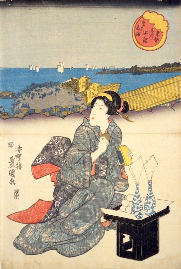 『東都名所遊観 葉月高輪』部分(歌川豊国 画)の拡大画像