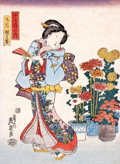 『十二ヶ月の内 九月 縁日の菊』(渓斎英泉 画)