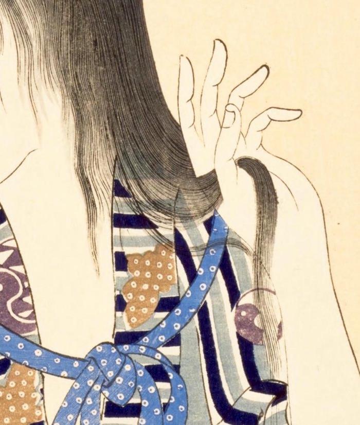 『真美人』(揚州周延 画)の髪の毛部分拡大(拡大画像)