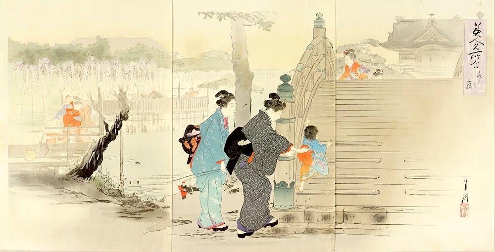 『美人名所合 亀戸の藤』(尾形月耕 画)の拡大画像