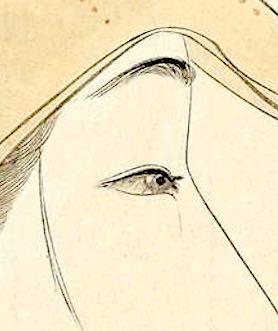 浮世絵 美人画の目元拡大(『今姿 三すじ』山本昇雲 画)