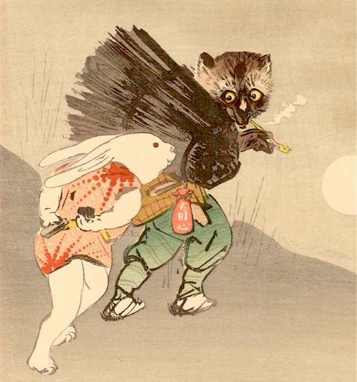 『かちかち山』のウサギとタヌキの浮世絵