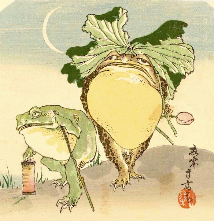 『蛙』(市川甘斎 画)の拡大画像