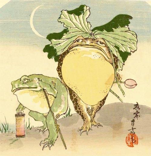 『蛙』(市川甘斎 画)