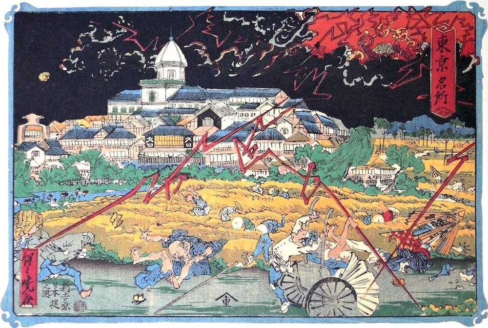 『東京名所 新吉原日本堤之図』(河鍋暁斎 画)の拡大画像